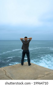 zen moment - man in moment of relax, contemplating the ocean