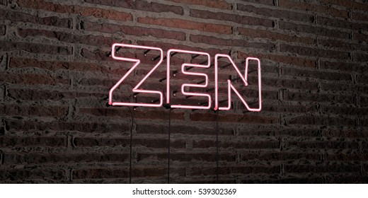 ZEN -Realistic Neon Sign on Brick Wall background - 3D rendered royalty free stock image. Can be used for online banner ads and direct mailers.