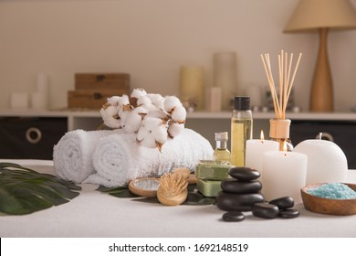 Zen and relax concept. Spa composition  with treatment on  light background - space for text