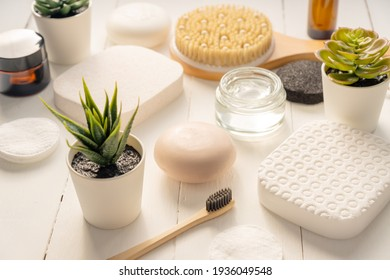 Zen and relax concept. Spa composition with treatment products on light background.
