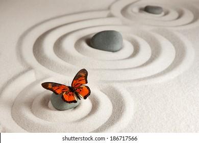 Zen rocks with butterfly