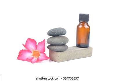 Zen spa concept background - Zen massage stones with orchid flower in white background
