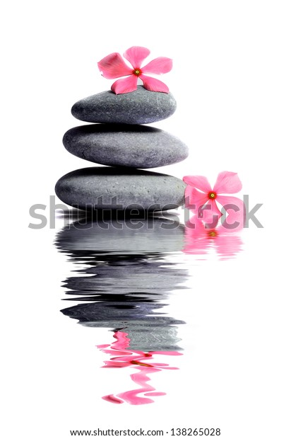 Zen stone with flower in Spa concept