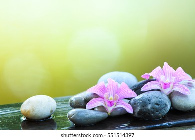 zen stone and pink orchid on the wooden table with copy space for text or product