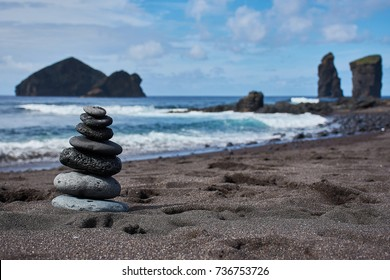zen stone tower at the Atlantic in Mosteiros Sao Miguel Azores