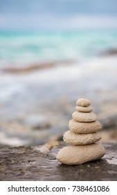 Zen stones, background ocean for the perfect meditation