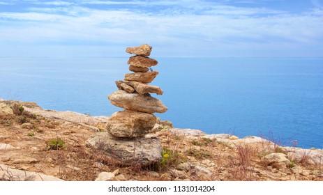 zen stones in balance on rock