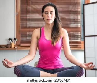 zen young woman meditating