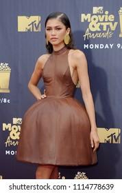 Zendaya at the 2018 MTV Movie And TV Awards held at the Barker Hangar in Santa Monica, USA on June 16, 2018.