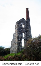 Zennor, Cornwall, England - 11.16.13 Carn Galver tin mine ruins, with chimney and ventilation shaft