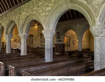 Zennor, England - April 26, 2017: Interior of the church of Zennor with pillars, Saint Senara Church.