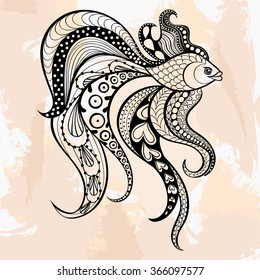 Zentangle Gold Fish tattoo in hipster style. Ornamental tribal patterned illustratian for adult anti stress coloring pages. Hand drawn sketch isolated on grunge background. Sea animal collection.