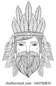 Zentangle Portrait of Man with Mustache, beard, war bonnet with feathers for adult coloring pages, tattoo art, ethnic patterned t-shirt print.