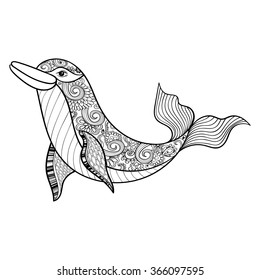 Zentangle sea Dolphin for adult anti stress coloring pages. Ornamental tribal patterned illustratian for tattoo, poster or print. Hand drawn monochrome sketch. Sea animal collection.