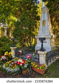 Zentralfriedhof, Vienna, Austria - October 15, 2019: The honorary grave of Ludwig van Beethoven is located on the Zentralfriedhof in Vienna.