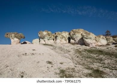 Zeolite rock phenomenon -The Stone Mushrooms is located in Rhodope Mountains  near Beli Plast village, Bulgaria