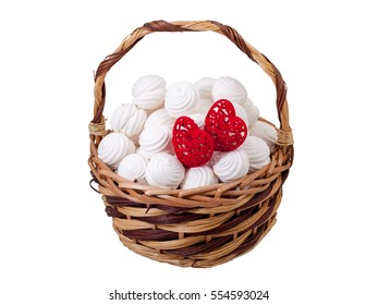Zephyr White Candies Red Hearts Gift Basket