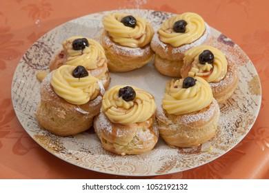 Zeppole, Saint Joseph's Fritters, traditional Italian dessert