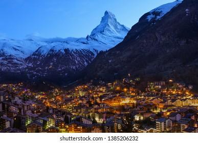 Zermatt by night. Lovely view of the Matterhorn and the alpine village Zermatt. Switzerland. Swiss alps.