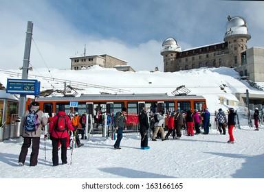 ZERMATT - JANUARY 17: The on the train station in Gornergrat, at the Swiss Alps on January 17, 2013 in Switzerland. Gornergrat rack railway is the highest open-air railway in Europe.