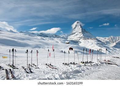 ZERMATT - JANUARY 17: Panorama of the Matterhorn ski paradise on January 17, 2013 in Switzerland. View from Riffelberg station.