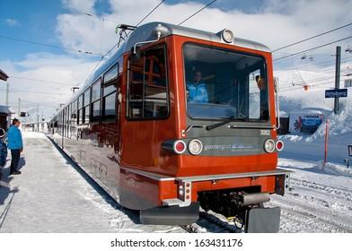 ZERMATT - JANUARY 17: The train station in Riffelberg, at the Swiss Alps on January 17, 2013 in Switzerland. Gornergrat rack railway is the highest open-air railway in Europe.