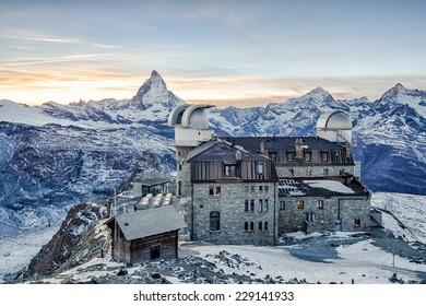 ZERMATT - Oct 24: Panoramic view of Matterhorn peak from Gornergrat on Oct 24, 2014 in Zermatt, Switzerland. The Matterhorn is one of the highest peaks in the Alps with 4,478 metres high.