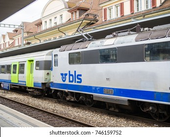ZERMATT, SWITZERLAND - 13 SEPTEMBER 2017: BLS train arrives to Zermatt train station. The Bern–Lotschberg–Simplon railway was the largest standard gauge network on the Swiss Railway system.
