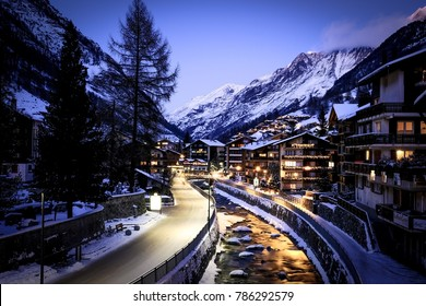 ZERMATT, SWITZERLAND - 17th December 2017: Zermatt is a winter fairy tale, surrounded by the snow, many tourists come here for famous sport, skiing, winter landscape offers unforgettable experience.