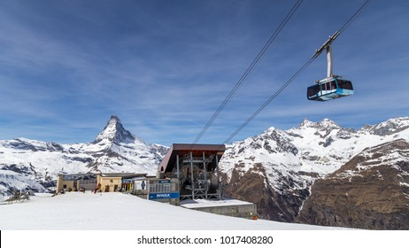 Zermatt, Switzerland - April 12, 2017: The Blauhorn-Rothorn cable car approaching the station with the Matterhorn in the background