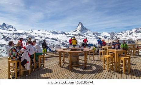 Zermatt, Switzerland - April 12, 2017: A bar and restaurant in the Matterhorn skiing area
