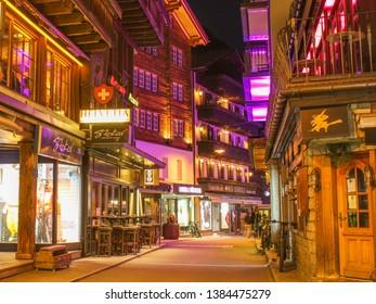 Zermatt / Switzerland - April 29 2019. Street view by night Zermatt, Switzerland.