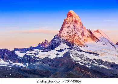 Zermatt, Switzerland. East and north faces of the Matterhorn at sunrise.