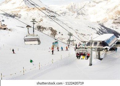 Zermatt, Switzerland - Feb, 2018: The Blauhorn-Rothorn cable car approaching the station. Breathtaking view of Zermatt and the UNESCO World Heritage. View of Alps mountain form the top in Swiss Alps
