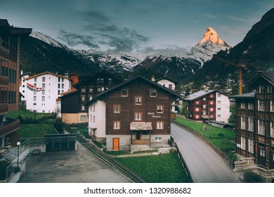 Zermatt, SWITZERLAND - May, 2018: The Swiss paradise, Zermatt and the Matterhorn in May, 2018, Zermatt