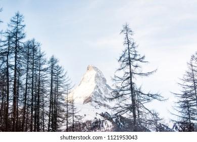 Zermatt Switzerland, Mountains Switzerland, Matterhorn peak. View of the Alps mountain form the top in Swiss Alps, top of Europe. Breathtaking view of Zermatt and the UNESCO World Heritage. swiss alps