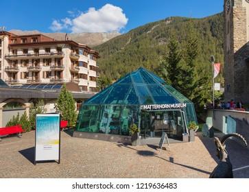 Zermatt, Switzerland - September 15, 2018: the Matterhorn Museum in the town of Zermatt. The Matterhorn Museum in Zermatt is a cultural-natural museum devoted to the Matterhorn mountain.