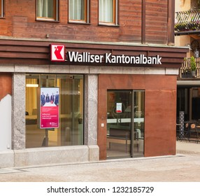 Zermatt, Switzerland - September 16, 2018: an office of the Walliser Kantonalbank in the town of Zermatt. The Walliser Kantonalbank is a cantonal bank of the Swiss canton of Wallis.