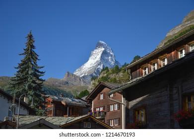 Zermatt, Switzerland - September 2014: The Matterhorn seen from the village of Zermatt
