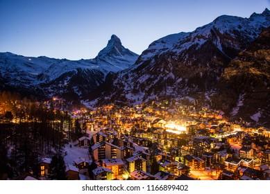 Zermatt, Switzerland - town at night