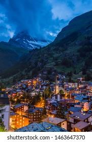 Zermatt town at sunset with Matterhorn in summer, Switzerland
