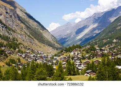 Zermatt valley, the famous Swiss winter sport town under the foot of Alps peak Matterhorn, Switzerland