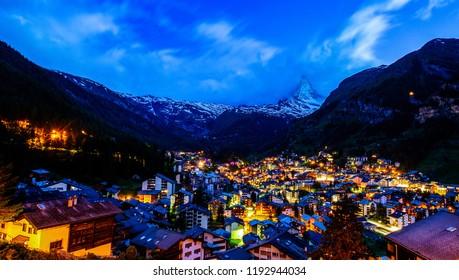 Zermatt village landmark with Twilight time.