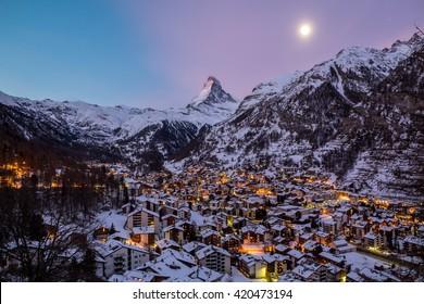 Zermatt Village and Matterhorn peak, Switzerland