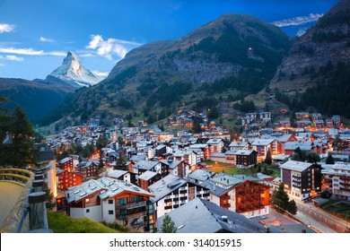 Zermatt village with peak of Matterhorn in Swiss Alps