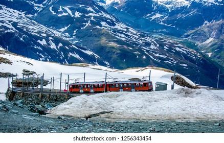 ZERMATT,SWITZERLAND-June 11,2018:Train running for trasportation passenger to other station in Matterhorn Zermatt ,Switzerland.