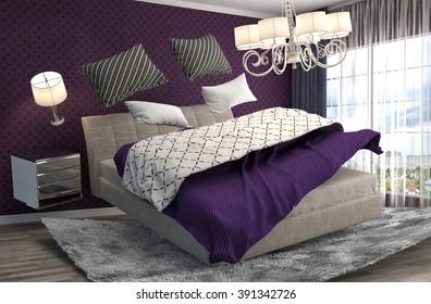 zero gravity bed hovering in living room. 3d illustration