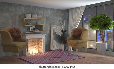 Zero Gravity furniture hovering in living room. 3D Illustration