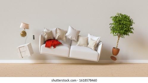 Zero Gravity Sofa hovering in living room with furniture