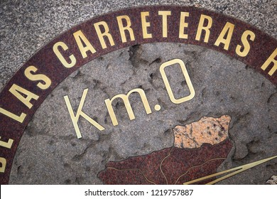 Zero Kilometer point, geographical center of Spain at Puerta del Sol square of Madrid, Spain 2018-08-13